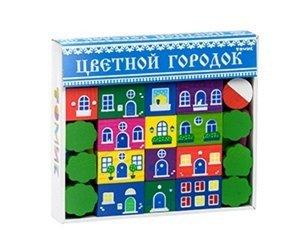 Конструктор Цветной городок 41 дет., кор. 25*22см (дерево)