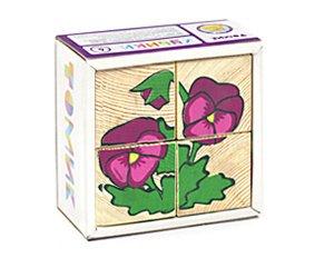 """Кубики """"Цветочки"""" 4 шт. (дерево)9*9*4"""