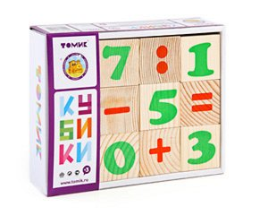 "Кубики ""Цифры"" 12шт, дерев.17*13*4см"