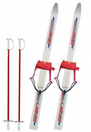 Лыжи детские Вираж-спорт с палками,пластиковые, 100см.