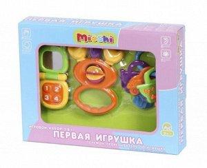 Набор 3 в 1 Mioshi Первая игрушка (телефон,прорезыватель,погремушка), 28*21*5см., кор.