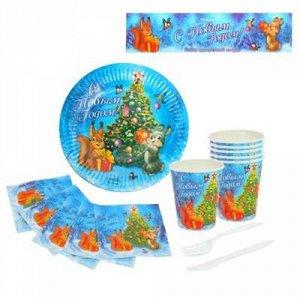 """Набор бумажной посуды """"С Новым Годом"""" Животные, пакет"""