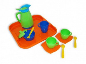 """Набор детской посуды """"Алиса"""" с подносом на 2 персоны, 17*16см."""