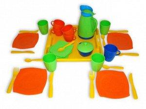 """Набор детской посуды """"Алиса"""" с подносом,на 4 персоны, сетка. 28*28*10см"""