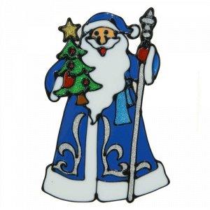 """Наклейка на стекло """"Дед Мороз в синей шубе с елкой""""  28*19 см"""