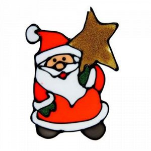 Наклейка на стекло Дед Мороз со звездой 14,5*10 см.*
