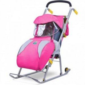 """Санки-коляска для детей, """"Ника детям 2"""" розовый *"""