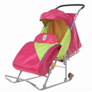 """Санки-коляска для детей, """"Тимка Премиум"""" Малиновый, с большим колесом *"""