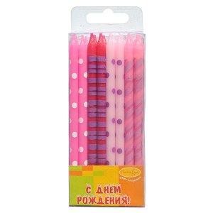 Свечи Ассорти розовое 16 шт 12 см