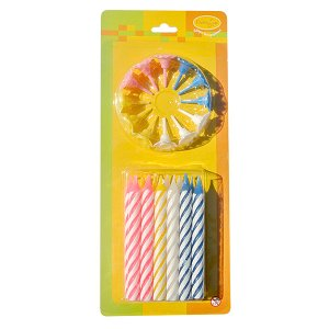 Свечи Большие 2-х цветные 12 шт с держателями 8 см
