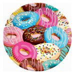 Тарелки бумажные Пончики 18 см 6 шт