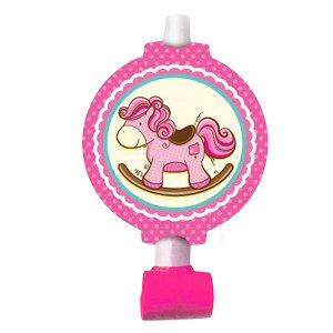 Язычок-гудок Лошадка Малышка розовая 6 шт