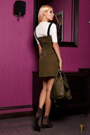Domenica - Платье в тонкую полоску оригинального кроя Оливковый
