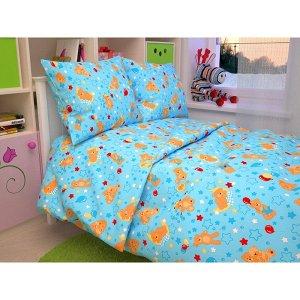 Детский комплект в кроватку Мишки, цвет голубой 350-1