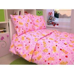 Детский комплект в кроватку Мишки, цвет розовый 350-3