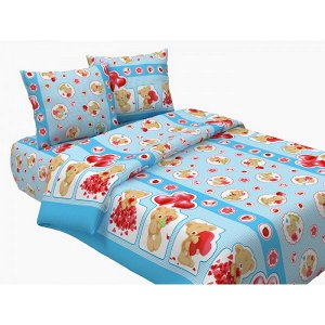 Детский комплект в кроватку Плюшевый мишка, голубой (ТТ 433-1)