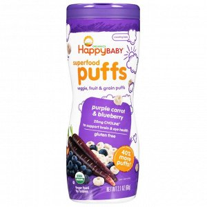 Happy Family Organics, Superfood Puffs Veggie, Fruit & Grain, Purple Carrot & Blueberry, 2.1 oz (60 g)