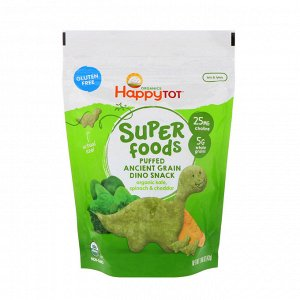 Happy Family Organics, Organics Happy Tot, супер-пища, снек из воздушного зерна, органической капусты, шпината, чеддера, 1,48 ун