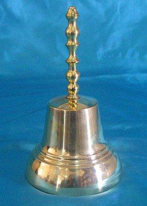 Колокольчик латунный, с длинной ручкой диаметр 65 мм, высота 130 мм