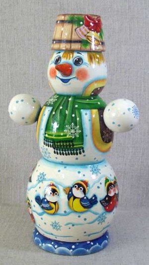 Тубус Снеговик, для конфет или бутылки 0,5 л, МП