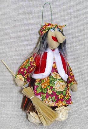 Кукла Баба-Яга в лаптях малая, МП