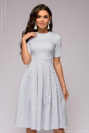 Платье белое длины миди с мелким принтом и короткими рукавами