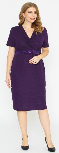 Платье Фиолет 46,52,60,64, черный-все размеры. Нарядное платье. очень красивое. Элегантное платье полуприталенного силуэта с короткими рукавами и глубокой V-образной горловиной, красиво подчёркивающей