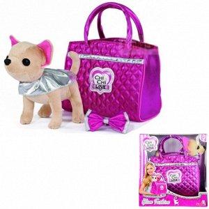 Chi-Chi love Собачка Чихуахуа Гламур с розовой сумочкой и бантом 20см 5893125 РАСПРОДАЖА