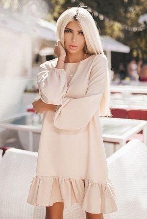 Бежевое платье с рукавом Розалия