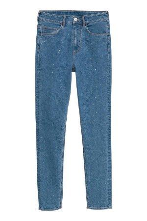Классные джинсы скинни со стразами H and M на 40 размер (на девочку - подростка)
