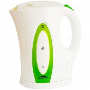 Чайник электрический 2л Эльбрус-4 белый с зеленым (Р)
