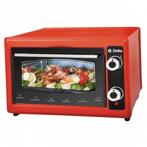Духовка электрическая 1300 Вт 37 л DELTA D-022 с ТЭНом повышенной мощности (рестайлинг) красная