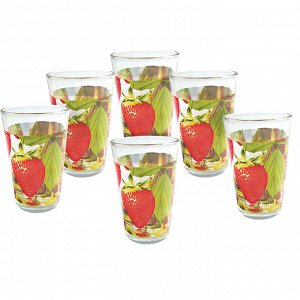 """Набор  из 6 стаканов 270мл """"Земляничная поляна"""" 00096S/6-ST в цветной коробке"""