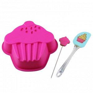 Форма для выпечки силиконовая в форме кекса + лопатки ВЕ-4239S/3