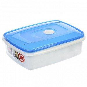 Ёмкость для СВЧ прямоугольная 1,3л MICRO TOP BOX РТ1544ГПР-12PN голубая прозрачная