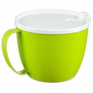 Кружка для супа 0,7 л с крышкой М1214 салатовый