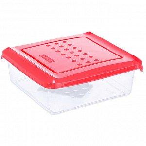 Ёмкость для хранения продуктов квадратная 0,5л PATTERN PT1096КОРАЛ-26РN коралловая