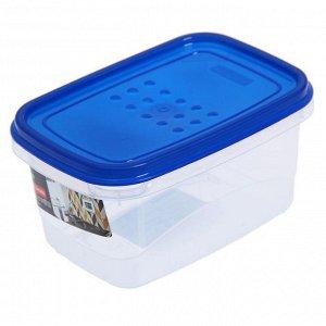 Ёмкость для хранения продуктов прямоугольная 0.6л PATTERN FLEX PT1131ГПР-20 голубая прозрачная