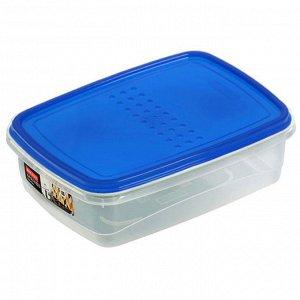 Ёмкость для хранения продуктов прямоугольная 1.3л PATTERN FLEX PT1132ГПР-12 голубая прозрачная
