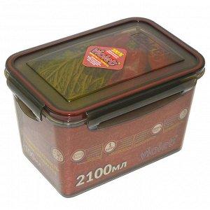 Контейнер 2100 мл герметичный прямоугольный 093/211 дымчатый