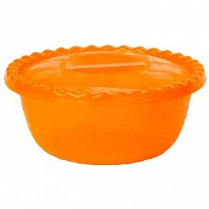 Миска круглая 5 л с крышкой М1317 оранжевая