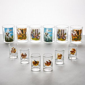 """Набор из 12 предметов (стакан 6 штук + стопка 6 штук) 1021/1022/9 """"Охота"""""""
