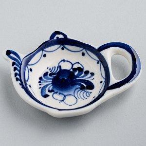 """Подставка под чайный пакетик 7,5х6х1см """"Чайник"""" (гжельский фарфор, ручная работа) ГУ-0127"""