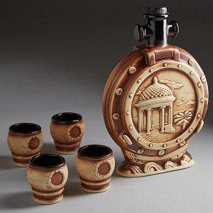 Коньячный набор МОРСКАЯ БЕСЕДКА ШАМОТ (керамика) (ручная работа) АВН-5133