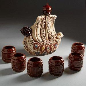 Винный набор ПАРУСНИК (керамика) (ручная работа) КЛС-14363