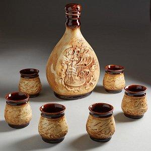 Винный набор КОРАБЛИК (керамика) (ручная работа) МЛС-92018