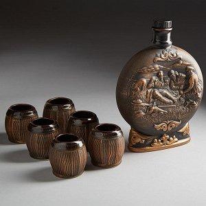 Штоф 0,75 л ОХОТА БРОНЗА (керамика) (ручная работа) САС-7106
