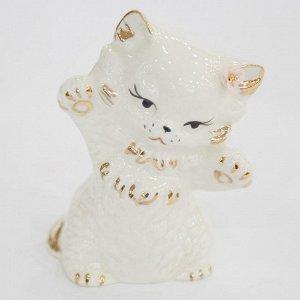 Статуэтка 8см Кошка царапка (фарфор) (ручная работа)