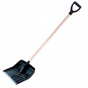 Лопата снеговая 428х490мм пластмассовая с деревянным черенком и V-образной ручкой (оцинкованная планка) (3 №1)