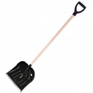 Лопата снеговая 500х382мм пластмассовая с деревянным черенком и V-образной ручкой (оцинкованная планка) (3 №5)